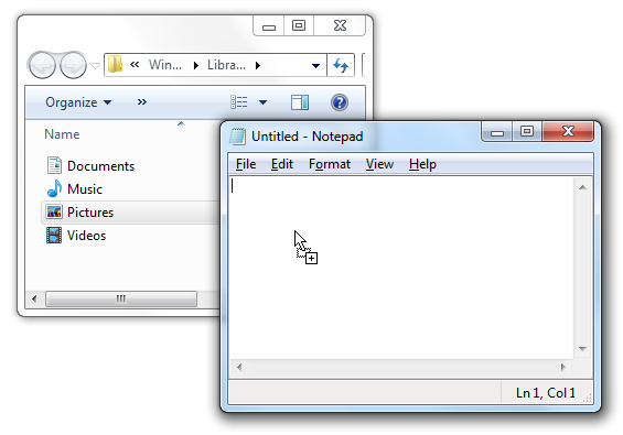 Drag Icons in Windows 7