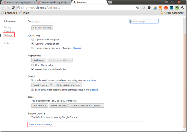 Google Chrome Advanced Settings