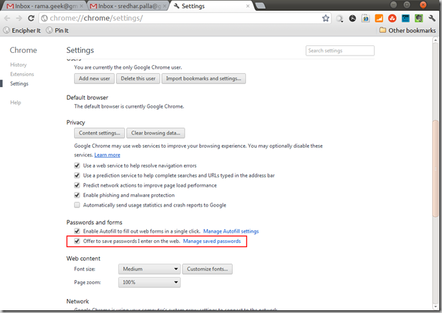 Manage Stored Passwords link in Google Chrome