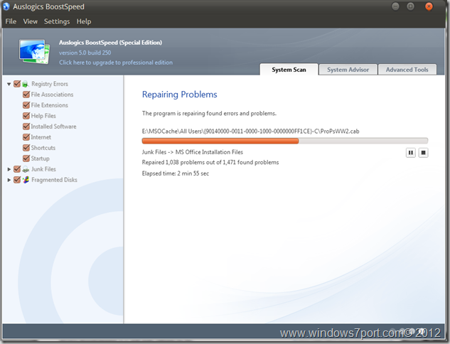 Repairing Problems in Auslogics BoostSpeed