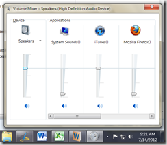 Adjust application sounds in Windows 7
