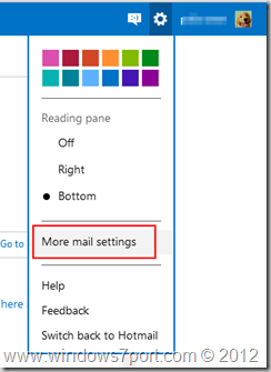 Options icon and More settings - Outlook.com