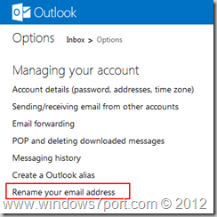 Rename to Outlook.com address
