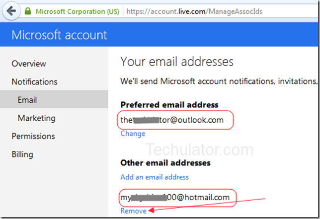 Remove-Hotmail-address-outlook.com