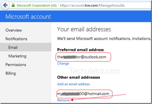Remove-Hotmail-address-outlook.com