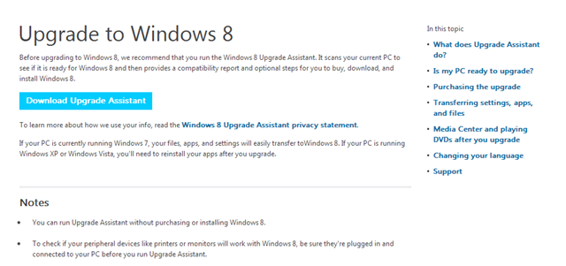 Download Upgrade Assisant for Windows 8