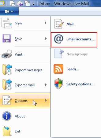 How to add email account to windows live mail for Acc email