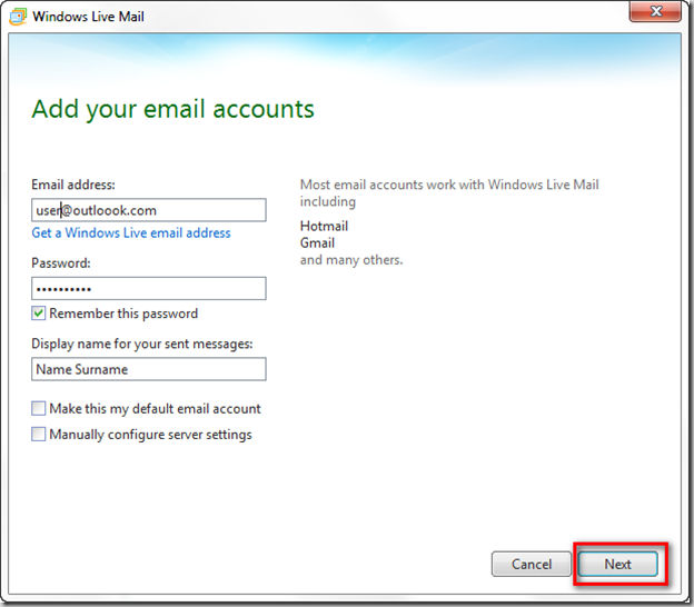 how to send emails to another account in outlook