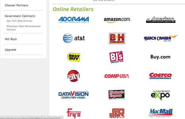 Windows 8 Online Retailers List