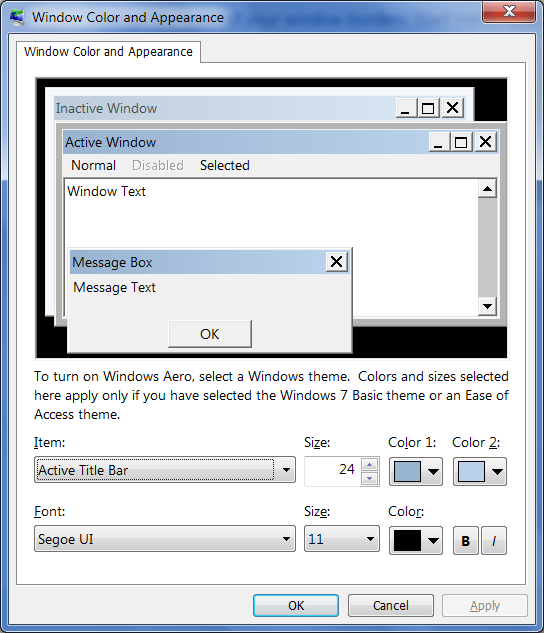 Tutorial change advanced appearance settings in windows for 20 40 window