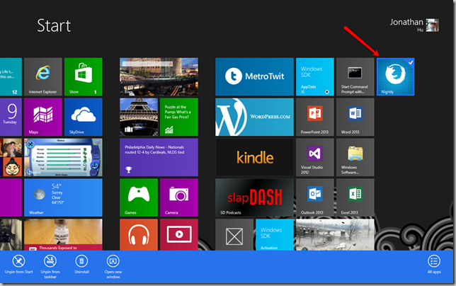 "Firefox ""Nightly"" version app in Windows 8"