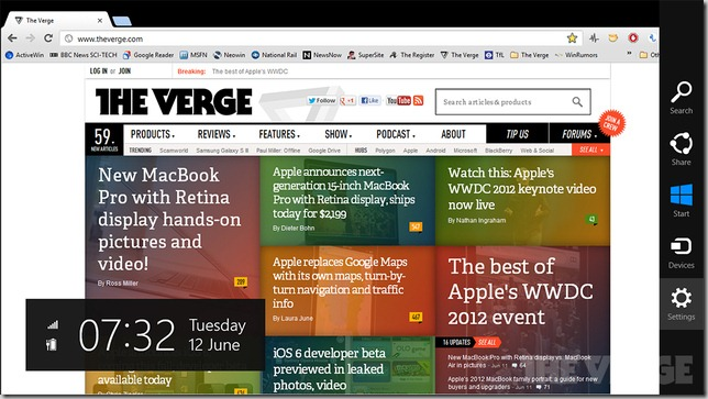 Metro version of Google Chrome