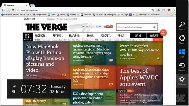 Metro version of Google Chrome