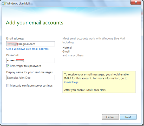 Add your Email Accounts in Windows Live Mail 2012 - Gmail