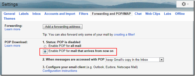 Enable POP in Gmail