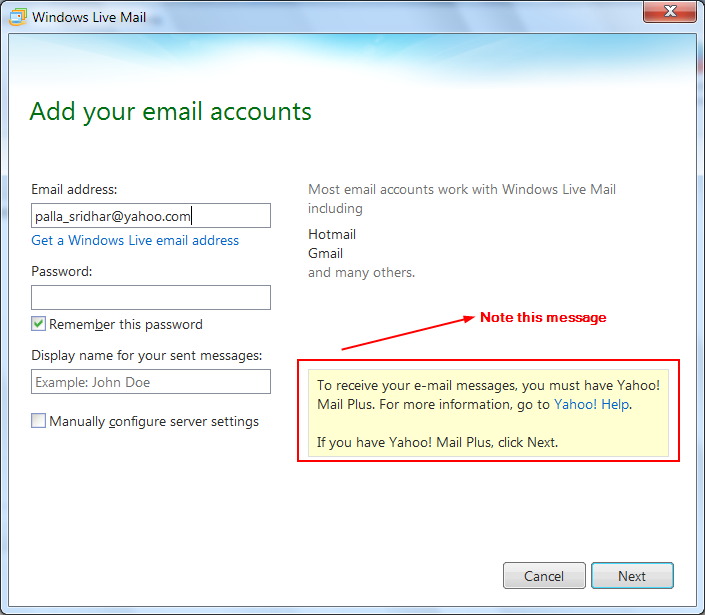 Configure windows live mail 2012 settings for gmail and for Acc email