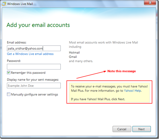 Add your email Accounts - Yahoo account