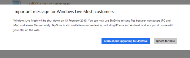 Message for Windows Live Mesh customers
