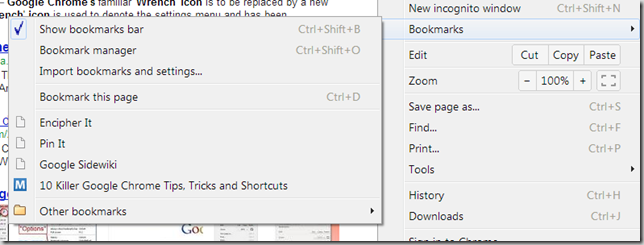 Bookmarks options in Google Chrome