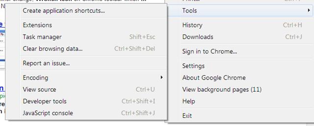 Tools drop down Menu in Google Chrome