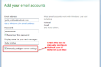 How to Manually Configure Outlook.com for Windows Live Mail 2011
