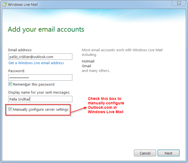 Add Email Account Details in Windows Live Mail