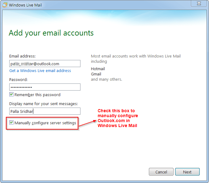 How to Manually Configure Outlook com for Windows Live Mail 2011