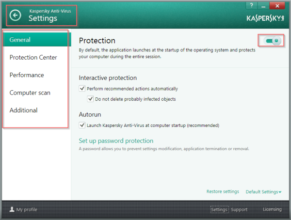 Settings Interface of KAV-2014