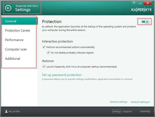 Settings Interface of KAV-2014