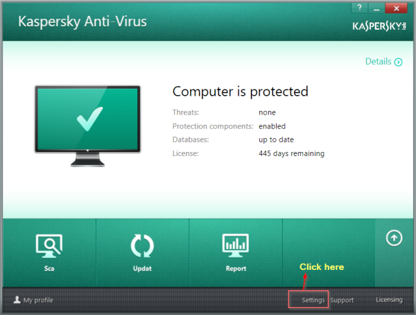 KAV-2014 Settings in Windows 8 and 8.1