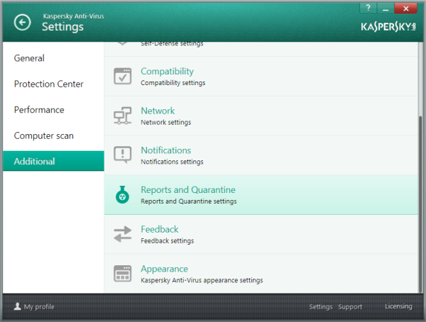 Options in Additional Settings - KAV 2014