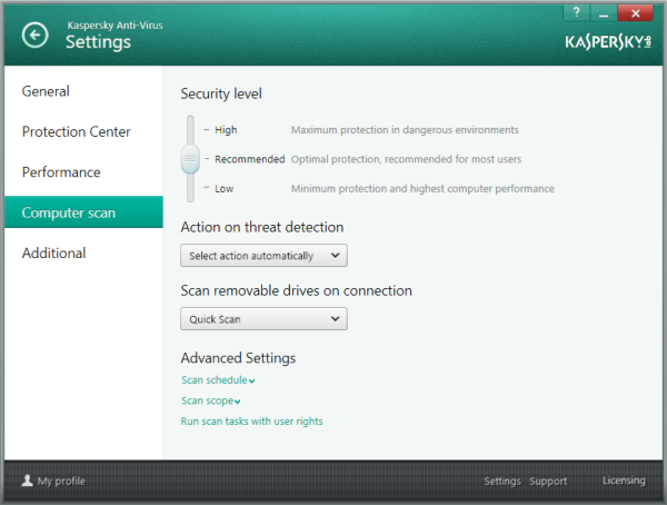 Options available in computer scan settings - KAV 2014