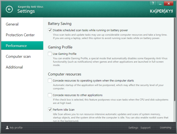 Options in Performance Settings - KAV 2014