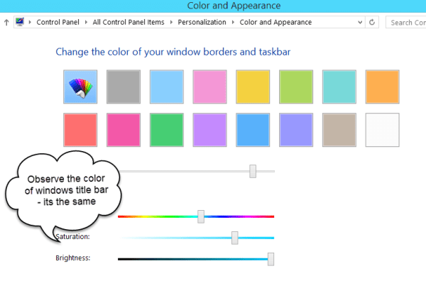 Change Color and Appearance of Windows 8.1 Title bar