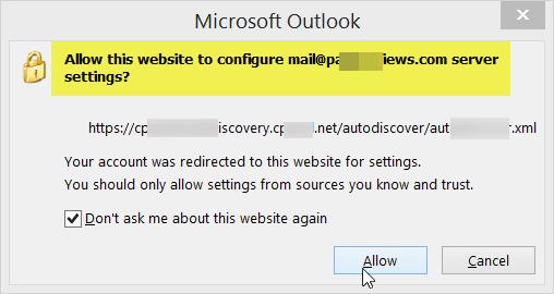 Hostgator permission for Outlook 2013