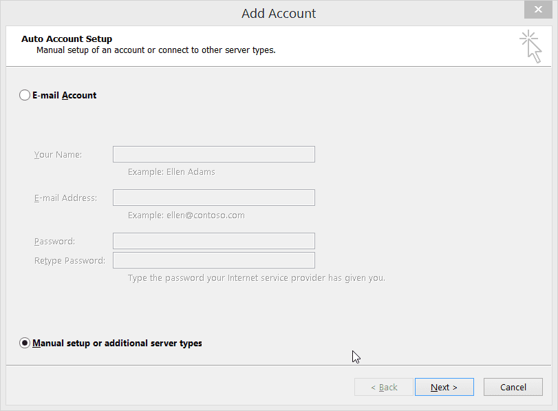 Manual Email Account Settings Outlook 2013