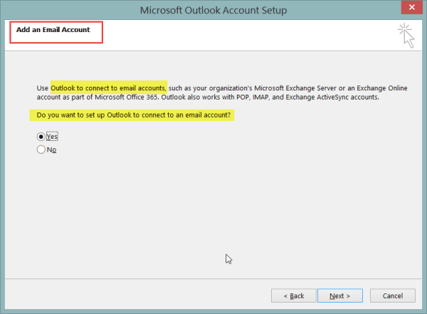 New Outlook 2013 Account Set Up