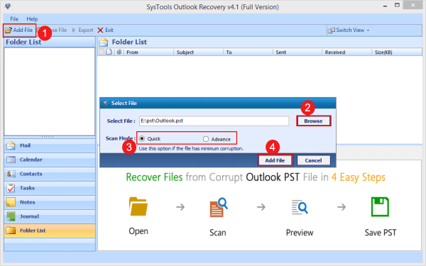 File Adding using Outlook Recovery tool