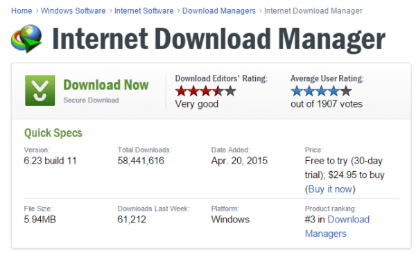 Internet Download Manager review from CNET - statistics and ratings