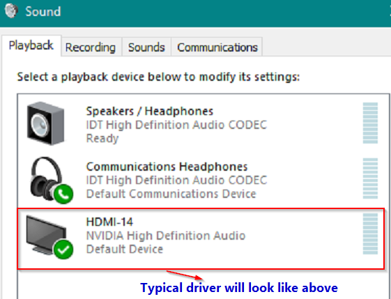 Audio Driver item in Playlist in Windows 10