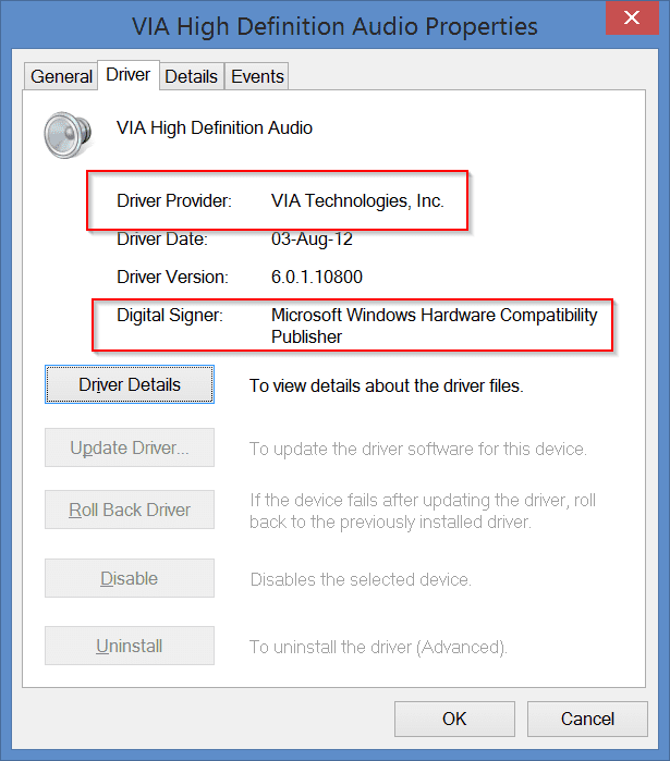Sound driver properties in Windows 7 or 8 or 8.1