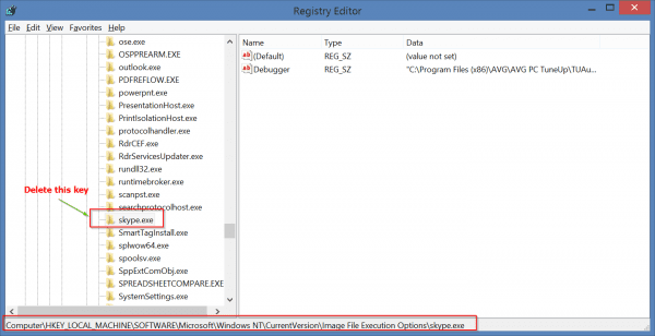 Delete Skype entry from Registry