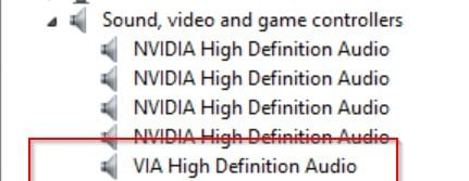 VIA High Definition Audio Driver - Device Manager - Windows 8.1 64 bit