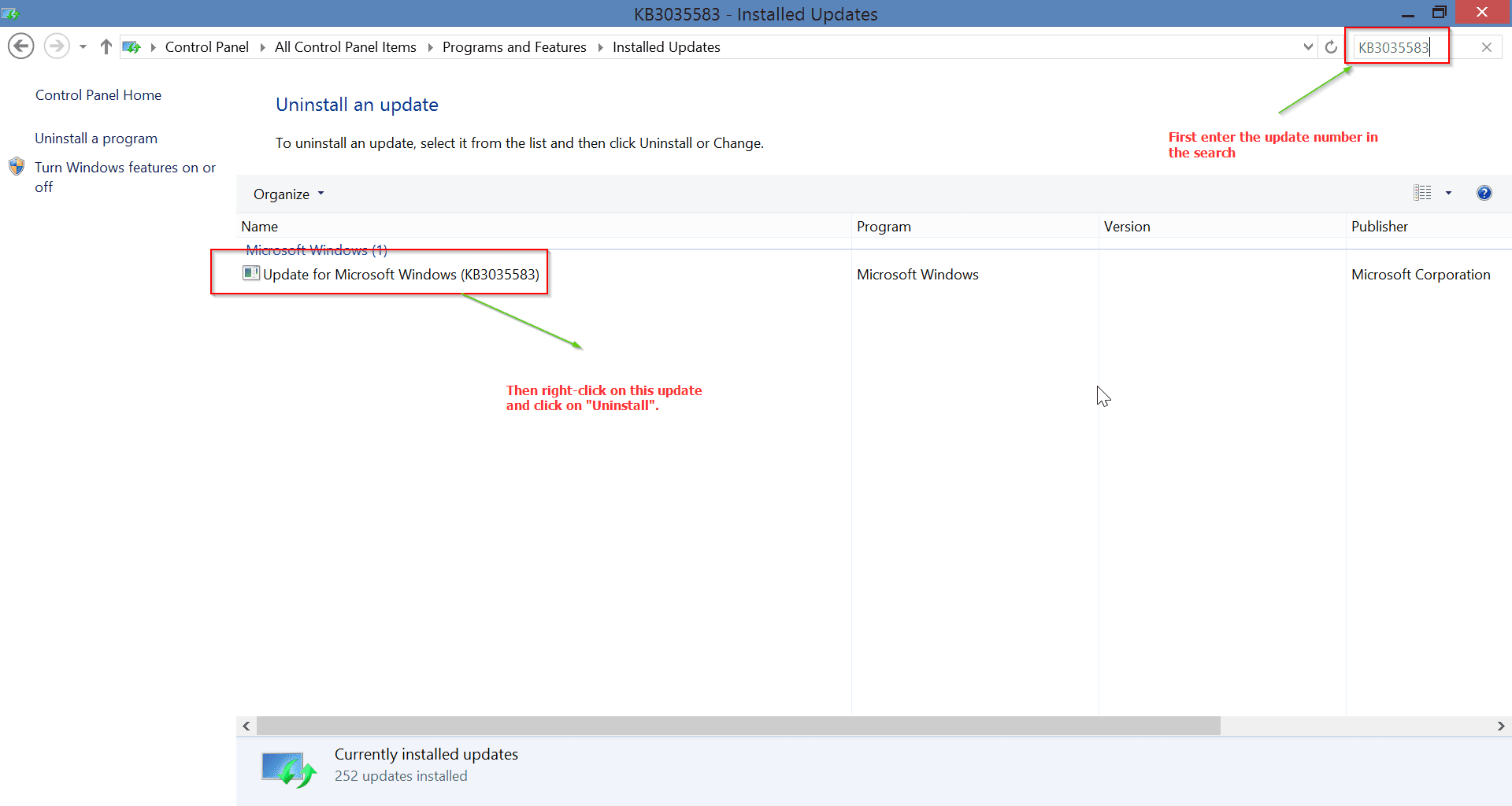 search-for-KB3035583-windows-10-update