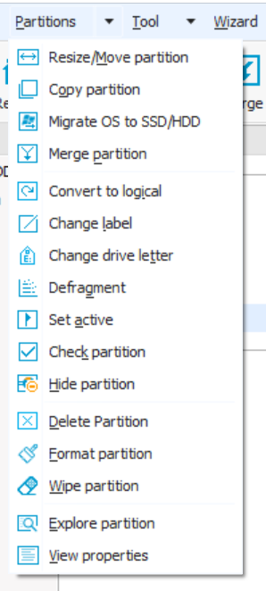additional-features-available-on-selecting-a-partion-easeus