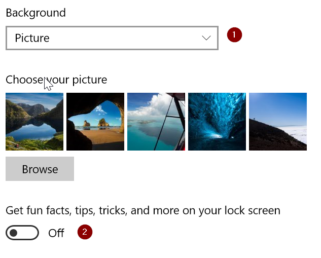 settings to block ads on windows 10 lock screen