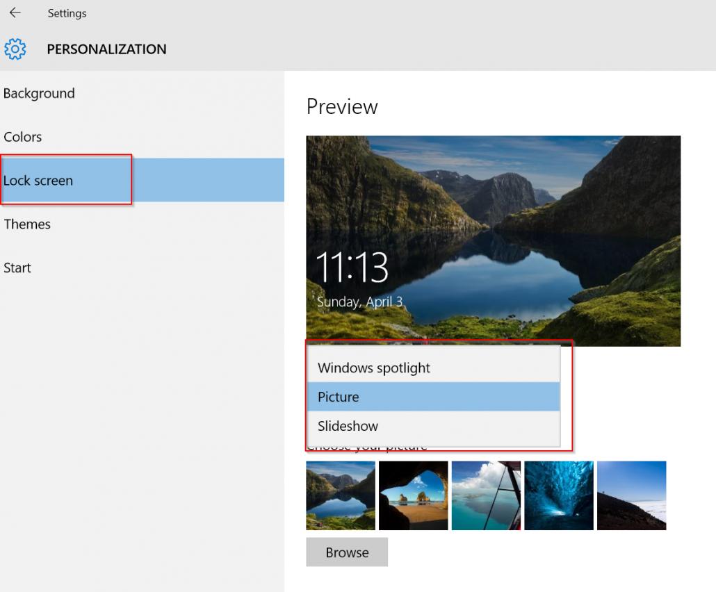 personalization settings to block ads on windows 10 lock screen