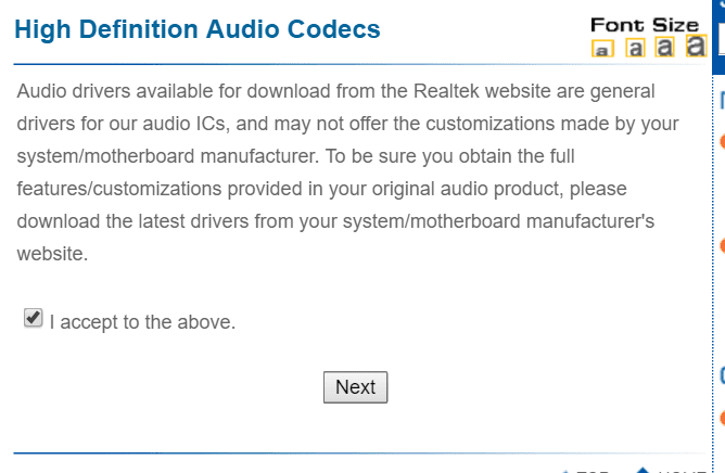 warning message before you download hd sound drivers for win 10