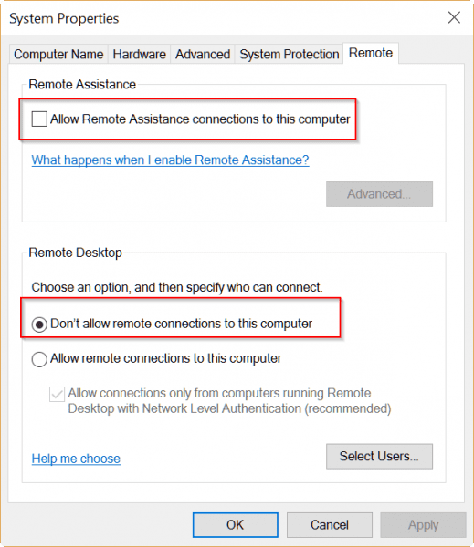 uncheck remote desktop computer option to speed up windows 10