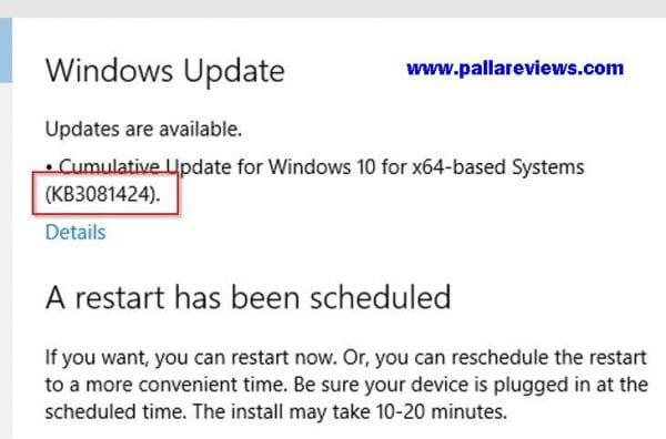 windows 10 restarts after update